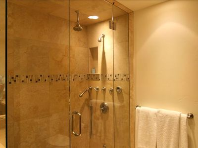 Master shower with steam and 3 shower heads