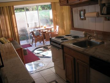 Walk into a full kitchen, ready to cook, nice quite location.