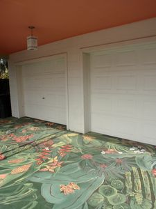 Nokomis house rental - Our tropical mural on the garage skirt, painted by a local artist