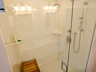 Katama house photo - Master Bath Also Has Large Walk-in Glass Door Shower & Whirlpool Tub