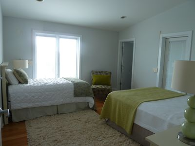 Freshly Painted Upstairs Front Bedroom with Queen Bed, Twin Bed and Private Bath