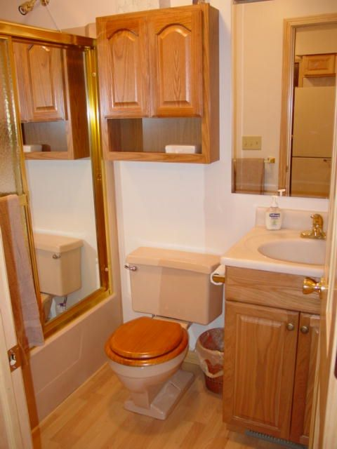 Bathroom on main level features full size tub and shower.