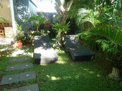 Day beds under the Mango Tree Much appreciated shade