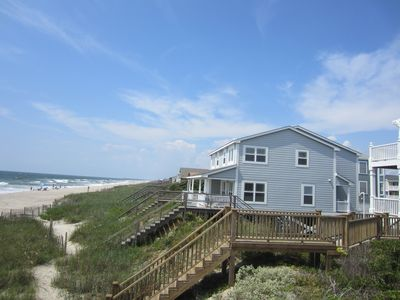 House sits closer to the water with unobstructed views up and down the beach.