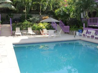 Cruz Bay condo photo - Inviting shared pool with loungers for sun bathing and covered seating areas.