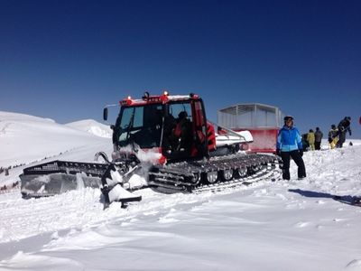 Take a snow cat ride to terrain less skied.