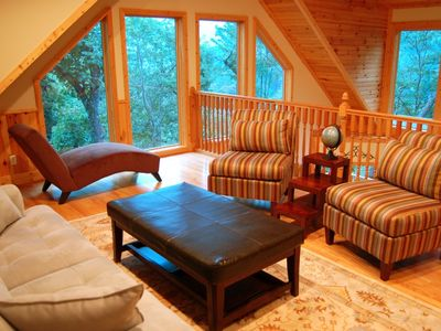 Seven Devils cabin rental - Play games, lounge with a book, or work on your computer in the sunny loft.