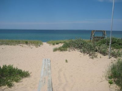Glen Arbor house rental - Sand and water right off your front deck ...
