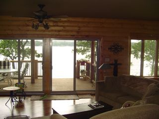 Cedar Lake cabin photo - Open living area also views the lake.
