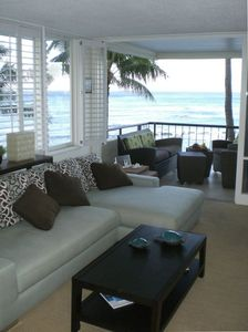 View of lanai and ocean from living room