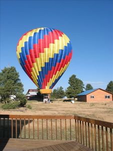 Hot air balloon landing by cabin - Pagosa Springs Lodging Vacation Rental