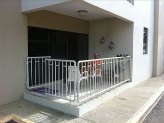 Rincon apartment photo - The balcony, with sea view and only steps to the swiming pool