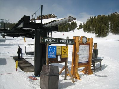 "Big Sky townhome rental - Your ""personal"" ski lift. The condo is seconds above. Way back just as easy!"