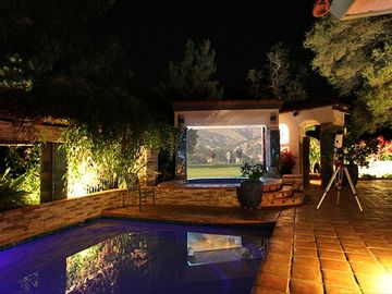 Three Rivers villa rental - View movies or music videos in the evening, and enjoy Pool side under the stars.