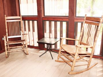 Rocking chairs on the back deck are perfect for that morning cup of coffee.