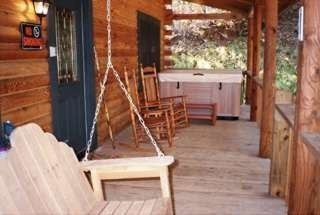 Bryson City cabin photo - Front Porch, Hot Tub, Porch Swing, Rockers