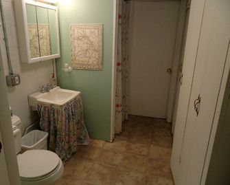 Downstair bathroom with washer and dryer