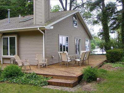 Lake Leelanau house rental - Large Deck is 35 feet from the lake with incredible panoramic views