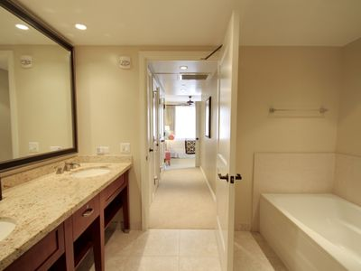 Master Bathroom... Full bathtub, walk-in shower, and double sinks