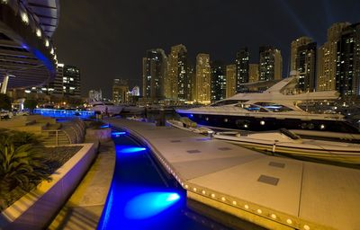 Dubai Marina & Al Sufouh apartment rental - The yacht club next door at night