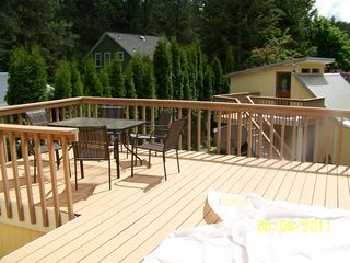 Harbor Island house photo - Main Deck with BBQ and Chimnea
