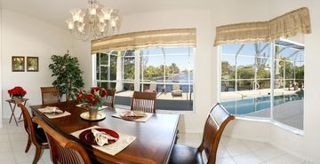 Dining area with fantastic view of water