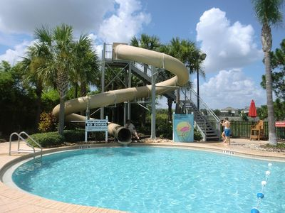 Large Resort Swimming Pool with Water Slide