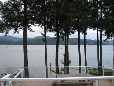View from living room/upper deck east across CDA lake.