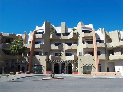 Street entrance of condominiums in Marina Cabo Plaza, downtown Cabo San Lucas