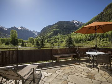 Telluride townhome rental - Box Canyon views from large deck on the main level.