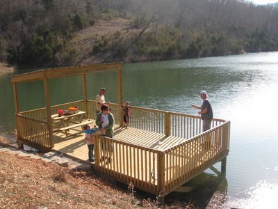 Branson townhome rental - Hike down to the Notch Estates 5 acre lake for some fishing!