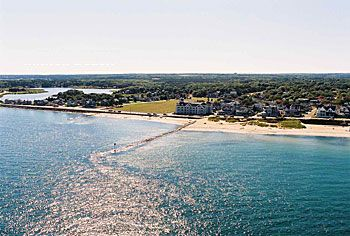 View of Oak Bluffs downtown beaches, free parking and open to the public
