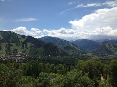 From L to R, views of Aspen Mountain, Highlands and Buttermilk