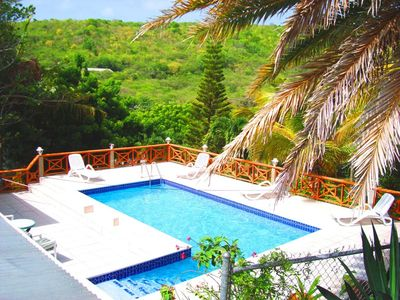 Private pool & lounge chairs on large deck, wifi available from pool.