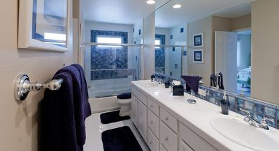 An expansive, comfortable, master bathroom