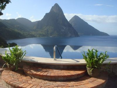 Magnificent View of the majestic St. Lucia Pitons from our 65 ft Infinity Pool