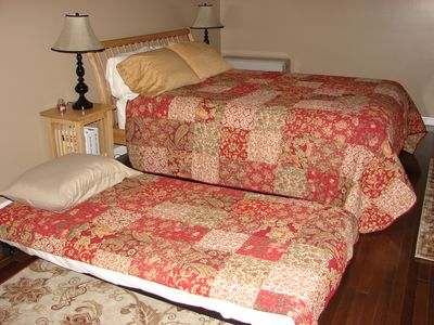 Queen bed with pull out twin trundle
