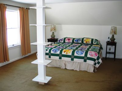 The Sow's Ear, The upstairs master bedroom - Bedroom #4 offers a king size bed and a king size amount of space... plus views looking off to Mount Lafayette.