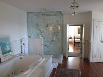 Master Bath, Spa and Steam Shower, gas fireplace,dressing room heated towel rack