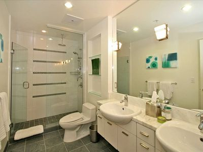 Large Master Bath- Rain Shower, Marble Vanity, Slate Floors