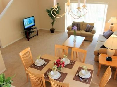 "Livingroom with 42"" LCD TV, sofa, Love seat and dining table"