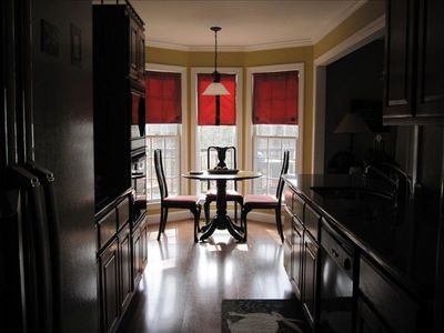 Granite counters in kitchen, enjoy the view from the breakfast window