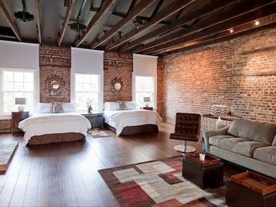 Our historic townhome was renovated and this loft was once a photography studio!