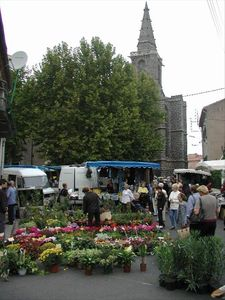 Weekly market surrounding the historic church