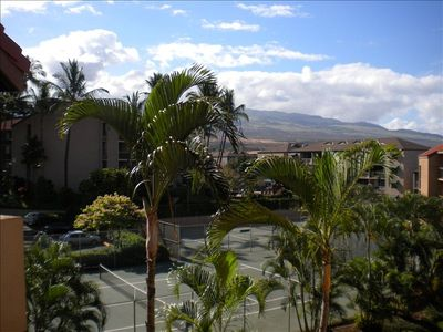 View as you exit the rear door from the unit- Haleakala and the tennis courts
