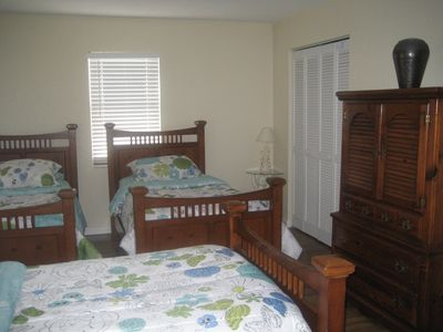 Third Bedroom has 3 single beds with private bath