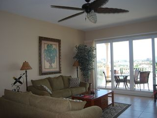 Clearwater Beach condo photo - Living Room to Balcony/ Stereo LCD T.V./ Elec. Fireplace.Why not?