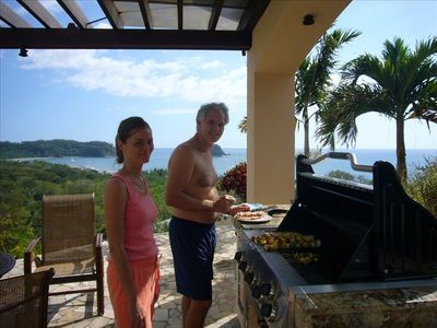 Samara villa rental - Barbecuing is a dream: fabulous views, a great gas grill, and wet bar!