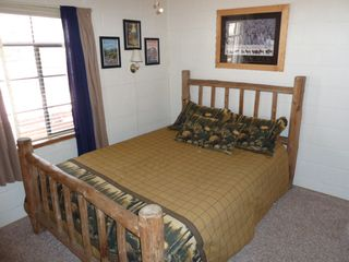 Estes Park cabin photo - Queen Log bed with NEW (Spring 2012) Select Comfort SLEEP NUMBER Bed