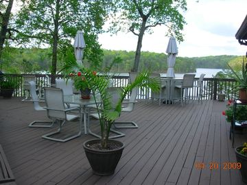 Deck between owner residence and cabin.